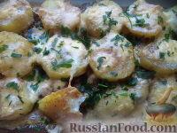 Фото к рецепту: Печень, запеченная с картофелем и сыром