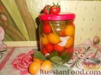Фото к рецепту: Маринованные помидоры с алычой (на зиму)