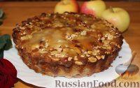 Фото к рецепту: Яблочный пирог с арахисом и карамелью