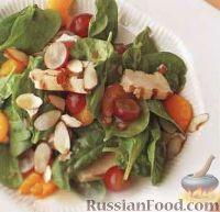 Фото к рецепту: Салат с курицей, виноградом, шпинатом и цитрусовыми