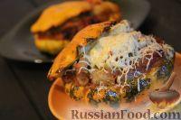 Фото к рецепту: Патиссоны, фаршированные индейкой и овощами