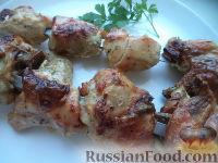 Фото к рецепту: Шашлык из курицы в сметане
