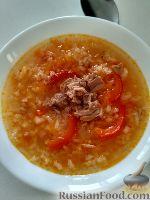 Фото к рецепту: Рисовый суп с консервированным тунцом