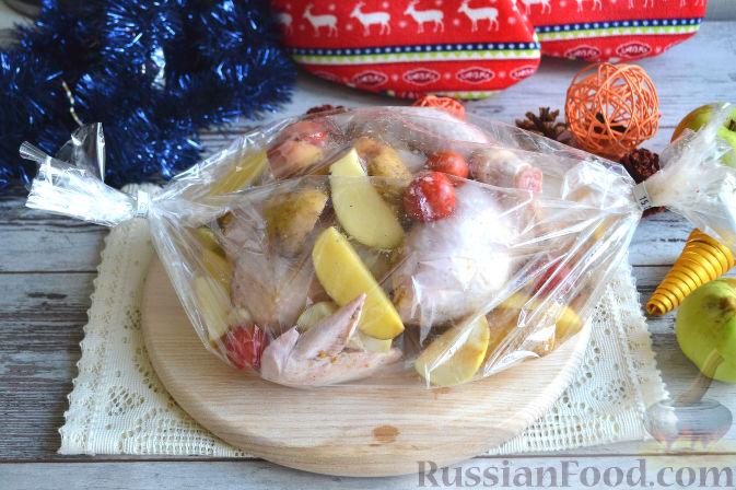 курица в духовке целиком рецепт с картофелем фото