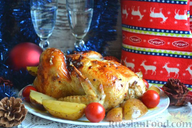 Запеченная курица в духовке с яблоками рецепт пошагово 2