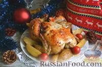 Фото к рецепту: Курица, запеченная целиком, в духовке