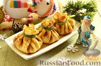 Фото к рецепту: Новогодняя закуска «Мешочки Деда Мороза»