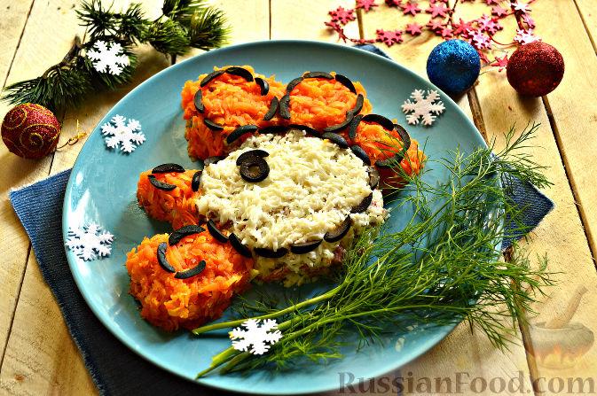 Фото приготовления рецепта: Салат «Петушок - Золотой Гребешок» с копченой колбасой - шаг №13
