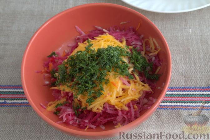 Фото приготовления рецепта: Салат с редькой и тыквой - шаг №5