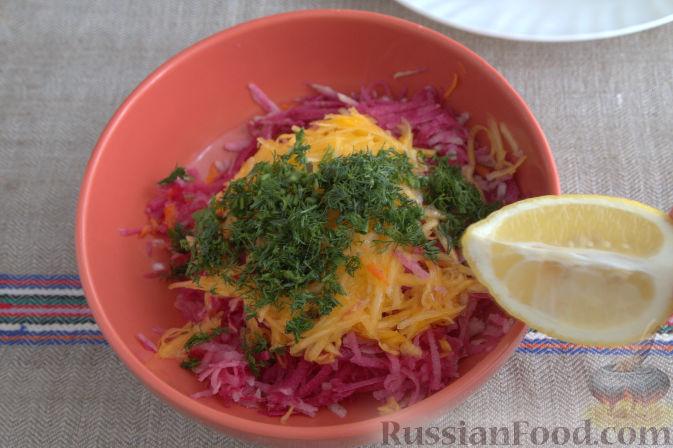 Фото приготовления рецепта: Салат с редькой и тыквой - шаг №7