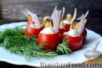 Фото к рецепту: Помидоры черри, фаршированные мидиями и сливочным сыром