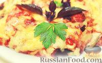 Фото к рецепту: Запеканка из баклажанов, с курицей, помидорами и сыром
