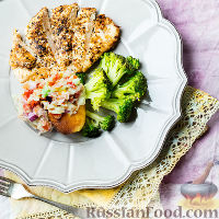 Фото к рецепту: Острая курица и сладкий картофель с гуакамоле