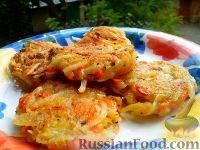 Фото к рецепту: Картофельные драники с морковью и луком