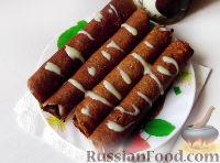 Фото к рецепту: Блины овсяные с какао и сгущенкой