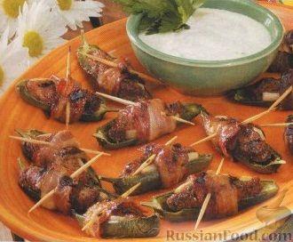 Рецепт Перец халапеньо, фаршированный куриным филе