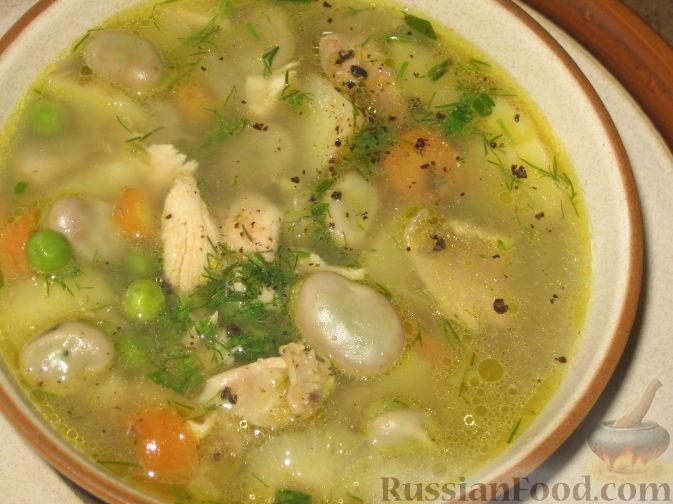 Рецепт Суп из молодых бобов и зеленого горошка