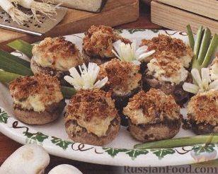 Рецепт Фаршированные шампиньоны, приготовленные на гриле