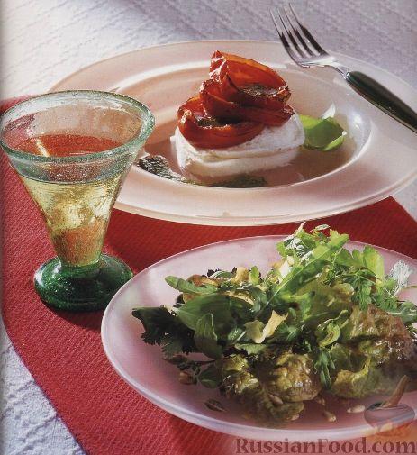 Рецепт Закуска с моцареллой и жареными помидорами