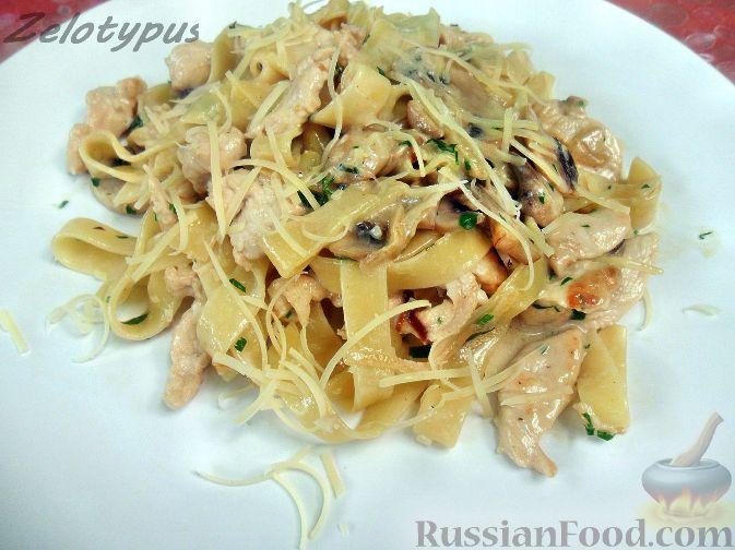 макароны с курицей в сливочном соусе рецепт с фото
