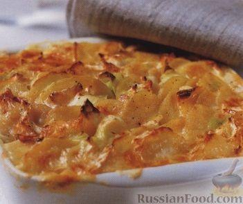 Рецепт Картофель, запеченный с луком пореем и сыром