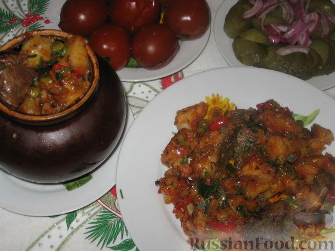 Рецепт Печень с овощами в горшочках