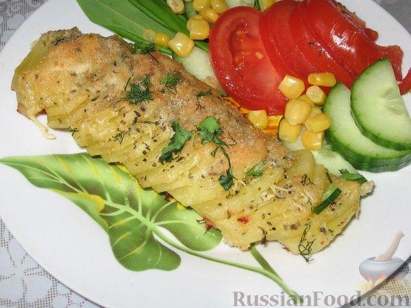 Рецепт Картофель, запеченный с сыром и базиликом
