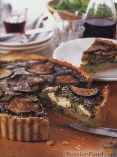 Рецепт Открытый пирог из баклажанов, риса, сыра и шпината
