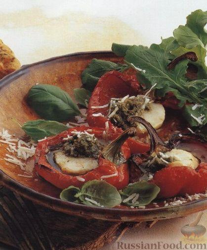 Рецепт Перец, запеченный с морскими гребешками