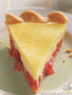 Рецепт Песочный пирог с ревенем и сливочным сыром