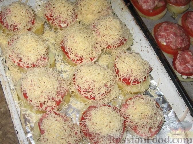 картошка с фаршем с помидорами и сыром в духовке