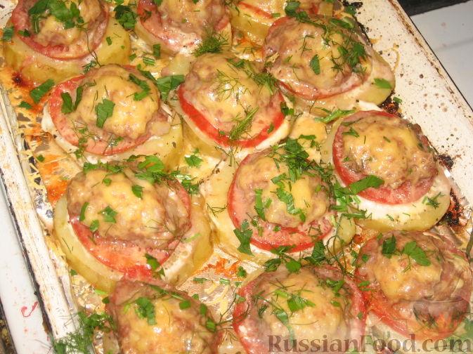 картошка в духовке с помидорами и фаршем