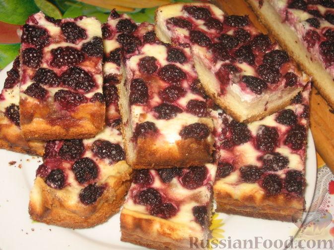 Рецепт Ежевичный пирог с творогом