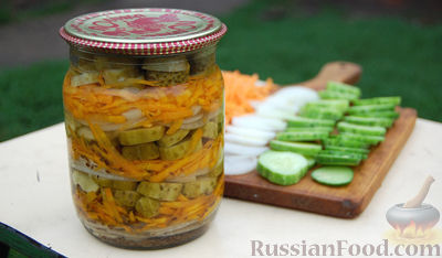 Рецепт Маринованный салат из огурцов