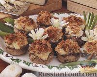 Фото к рецепту: Фаршированные шампиньоны, приготовленные на гриле