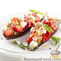 Фото к рецепту: Салат из печеных баклажанов с моцареллой