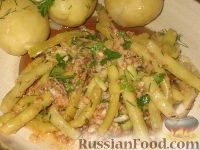 Фото к рецепту: Стручковая фасоль с ореховым соусом