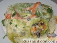 Фото к рецепту: Пикантные капустные конвертики