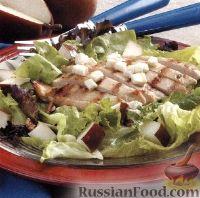 Фото к рецепту: Салат из куриного филе, груши и сыра