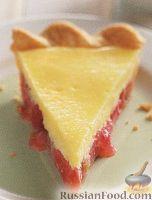 Фото к рецепту: Песочный пирог с ревенем и сливочным сыром