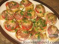 Фото к рецепту: Картофель, запеченный с мясом и помидорами