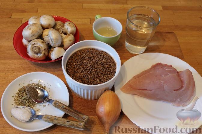 рецепт гречка с грибами и курицей в духовке рецепт