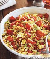 Фото к рецепту: Рагу из кукурузы и помидоров, с зеленым луком