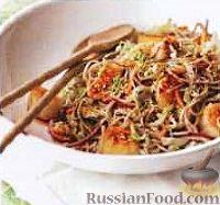 Фото к рецепту: Салат из пекинской капусты, со спагетти и морскими гребешками