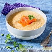 Фото к рецепту: Суп-пюре из чечевицы, со слабосоленой красной рыбой