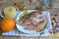 Фото приготовления рецепта: Канапе с ананасами, курицей и апельсинами - шаг №2