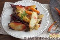 Фото к рецепту: Быстрая картошка в духовке, со свеклой, морковью и грибами