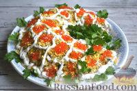 Фото к рецепту: Салат «Рог изобилия» с икрой, креветками и семгой