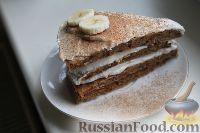 Фото к рецепту: Диетический морковно-банановый торт с творожным кремом