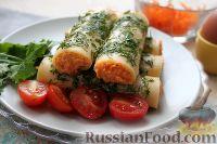 Фото к рецепту: Сырные трубочки с морковной начинкой